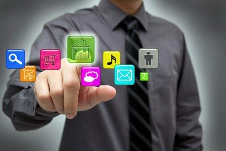 Businessman using hightech touchscreen interface