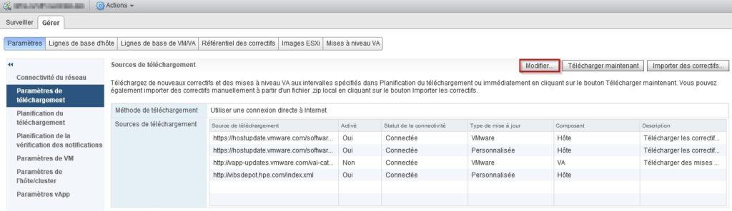 Parametre de telechargement VMware Update Manager