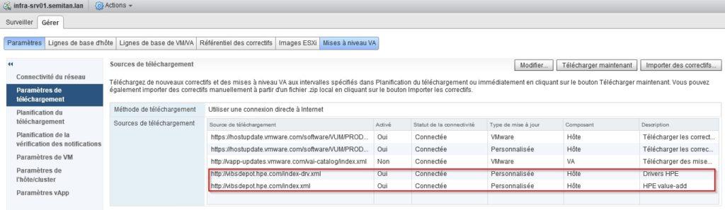 Verifier la liste des Sources de telchargement VMware Update Manager