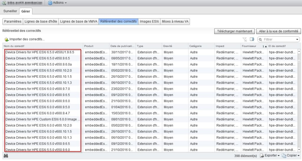 Verification telechargement VMware Update Manager